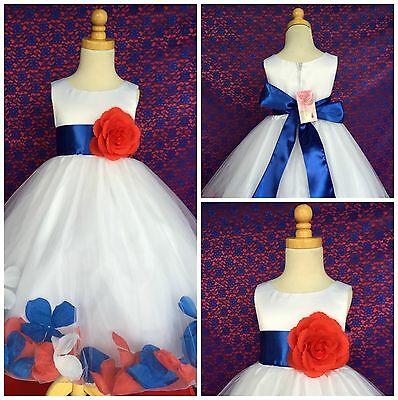 Forth Of July Red White Royal Blue Mix Petal Summer Flower Girl Summer Dress#24](Flower Girl Red And White Dresses)
