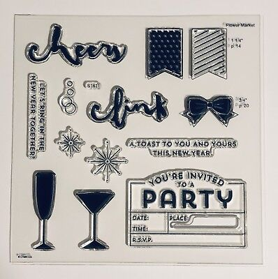 S1611- NEW YEARS CHEER- Martini glass, champagne, party, black tie, invitation