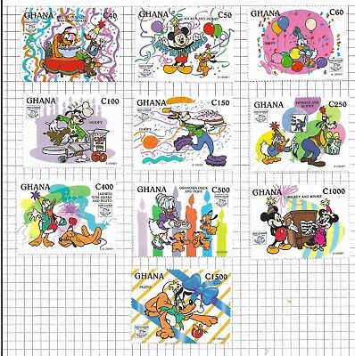 HICK GIRL- MINT GHANA STAMPS   DISNEY CHARACTERS BIRTHDAY BASH        T160