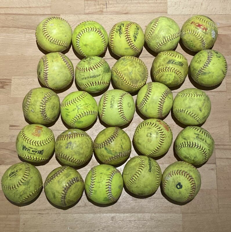 "25 Used 12"" Softballs Mixed Brands Great For Fielding Or Batting Practice"