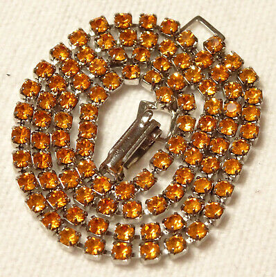 Amber Yellow Rhinestone Necklace Single Strand Vintage New Old Stock  - $18.99