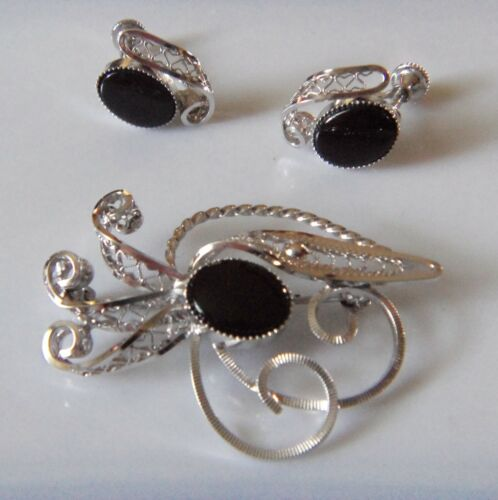 Signed a.c. Sterling Silver & Black Onyx Pin and Screw-back Earring Set