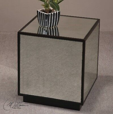 Mirror Cube Table - TRANSITIONAL ANTIQUED MIRROR BLACK RED WOOD MATTY CUBE TABLE SMALL