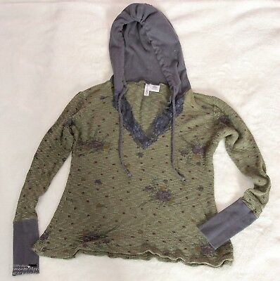 - Full Tilt Thermal Hoodie Green and Grey Floral Medium Ladies Juniors
