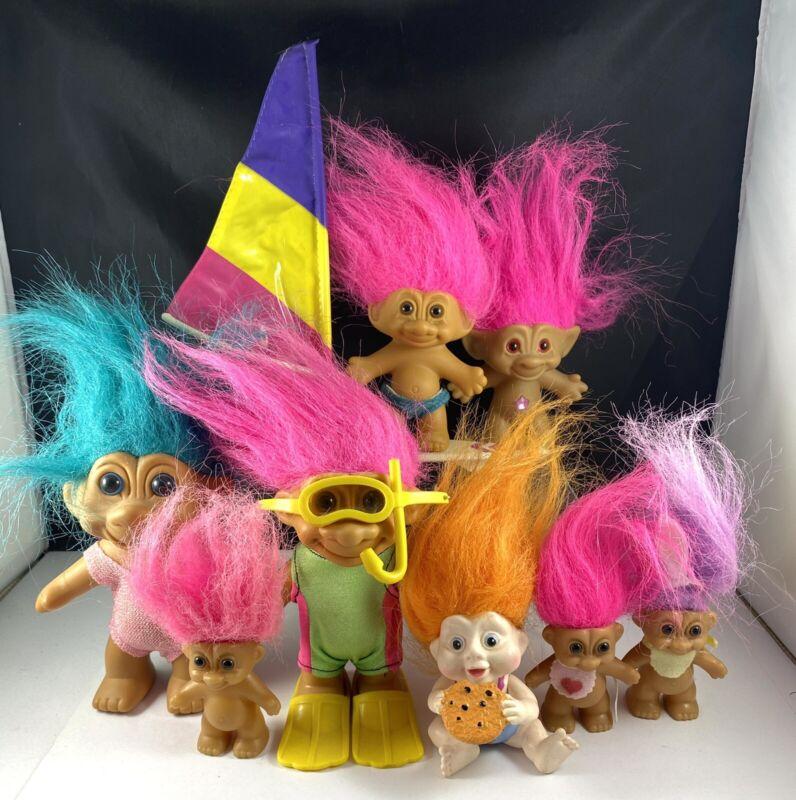 8pc Vintage Troll Lot Russ Applause Treasure Trolls Scuba Sailing Wind Sail Baby