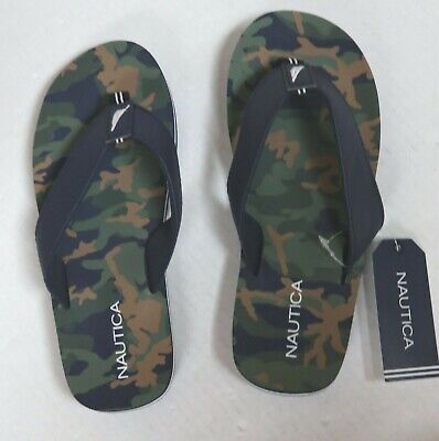 NAUTICA ROLLESBY BOY'S CAMO & BLUE FLIP FLOPS THONG TOE SANDALS CHOICE
