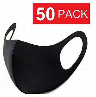 50 Pack Black Face Mask Breathable Washable Cloth Fabric WHOLESALE Accessories
