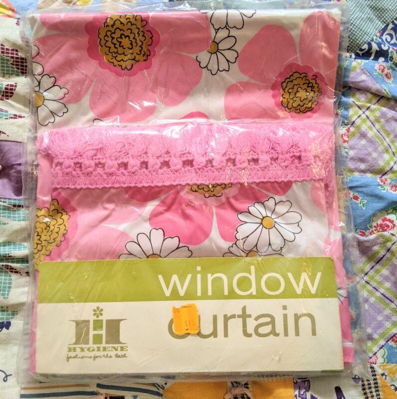 Vintage 1960s Hygiene Industries Window Shower Curtain 68x48 Pink Floral