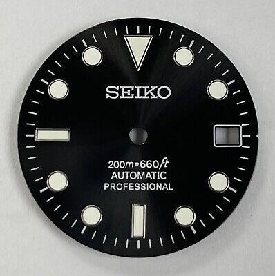Seiko Sub Sunburst Date Black aftermarket Dial Mod green Lume C3 NH35 NH36