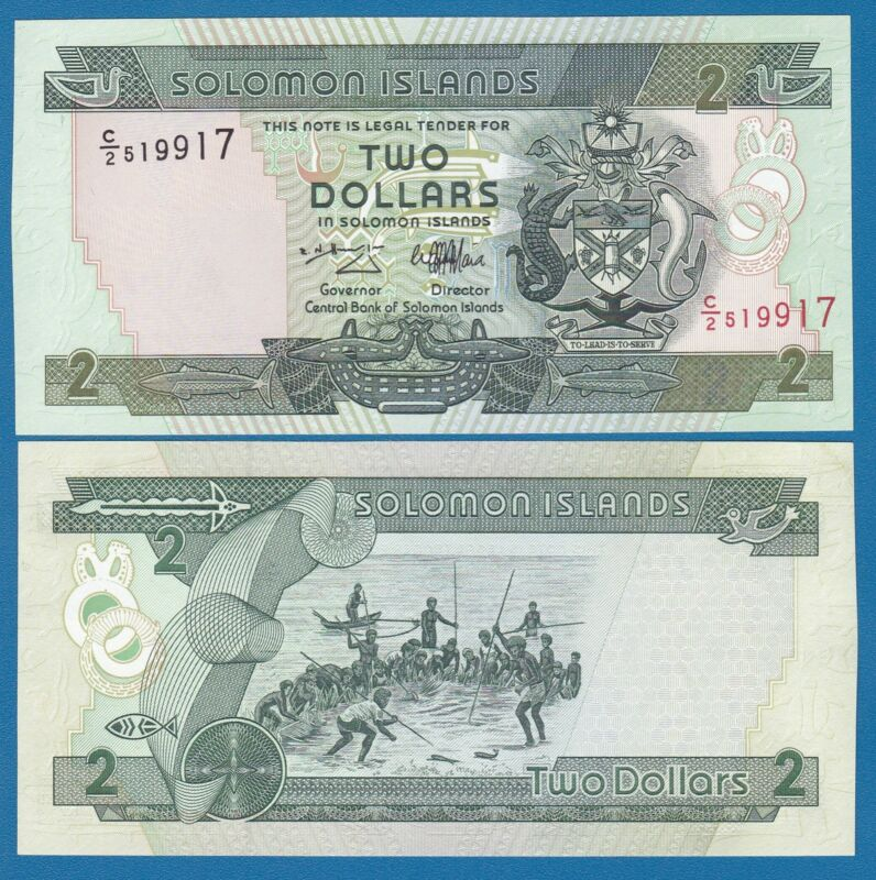 Solomon Islands 2 Dollars P 18 ND (1997) UNC Low Shipping! Combine FREE!