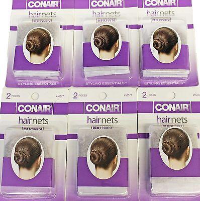 6pkgs Conair Brown Ultra Fine Mesh Hair Nets #55577 One Size Invisible Edge