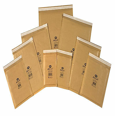 10 x JL0 GENUINE Jiffy bags, bubble-lined, padded envelopes gold 10x cd small