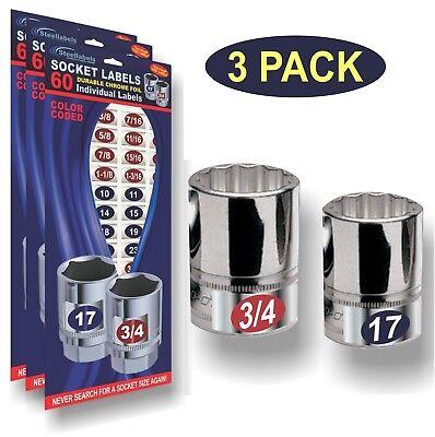 3 Pack - Blue - Chrome Socket Labels For Your Impact And Regular Socket Sets