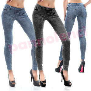 Leggings-pantaloni-effetto-jeans-leggins-pantacollant-donna-nuovi-DL-245