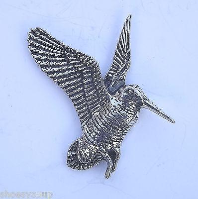 RISING WOODCOCK BIRD Hand Made in UK Pewter Lapel Pin Badge