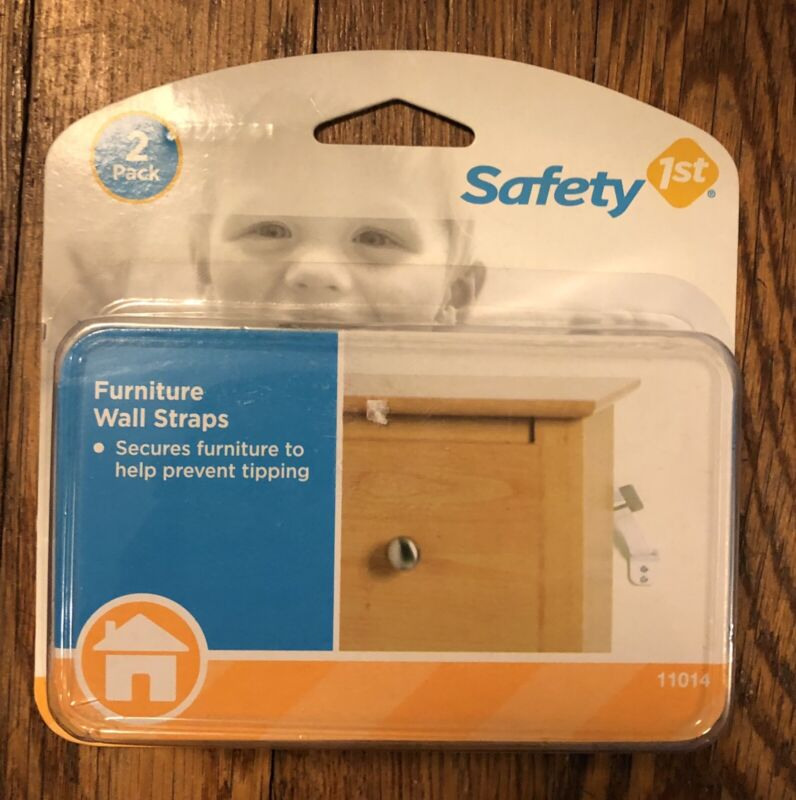 Safety First Furniture Wall Straps 2-Pack Brand New Prevents Tipping Furniture