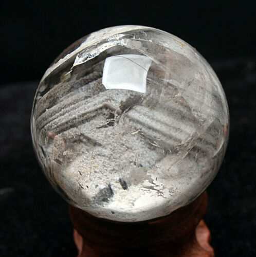"1.96"" Multilayer Phantom Natural ghost Quartz Crystal sphere ball HEALING+STAND"