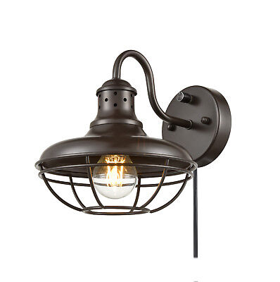 Rustic Plug-In Wall Sconce with Switch Farmhouse Cage Gooseneck Kitchen Lighting