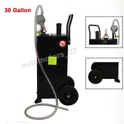 30gallon Gas Caddy Tank Black Storage Drum Gasoline Diesel Fuel Transfer Wwheel