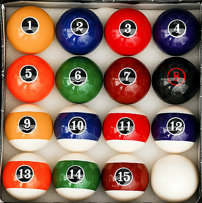 Modern Style Pool Table Billiard Ball Set W Red Circle # 8 Ball
