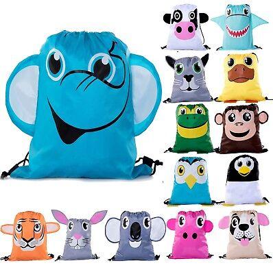 Party Favor Bags for Kids   Animal Drawstring Backpacks BULK - Bags For Kids