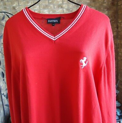 New Red Ferrari Licensed V Neck THIN Cotton Pullover Sweater Hologram M nwot