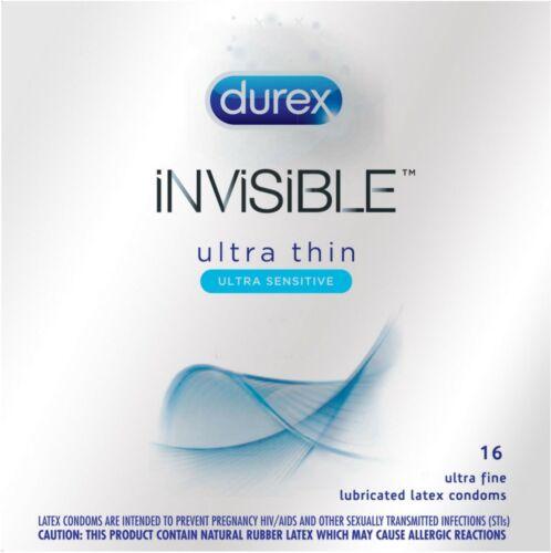 Durex Condom Invisible Ultra Thin Natural Latex Condoms, 16 Count