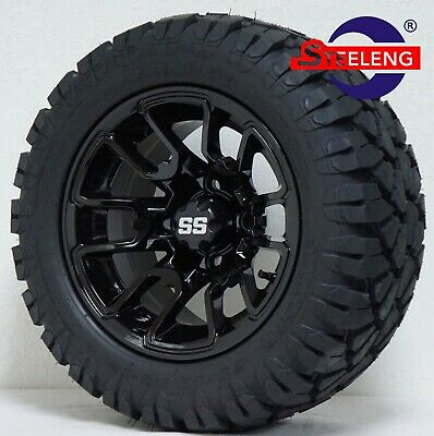 "GOLF CART 12"" BLACK LIZARD WHEELS and 20"" STINGER ALL TERRAIN DOT TIRES"