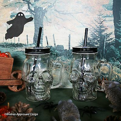 POTTERY BARN SKULL TO-GO MUGS (2) -NIB- A GHOULISHLY FUN PAIR TO DRAW - Halloween Drawing Skulls