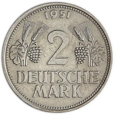 Deutschland 2 DM 1951 sehr schön Trauben & Ähren Mzz. unserer Wahl in Münzkapsel