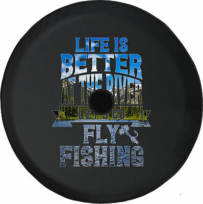 Spare Tire Cover Life Better River Fishing River Camera Hole for Jeep JL