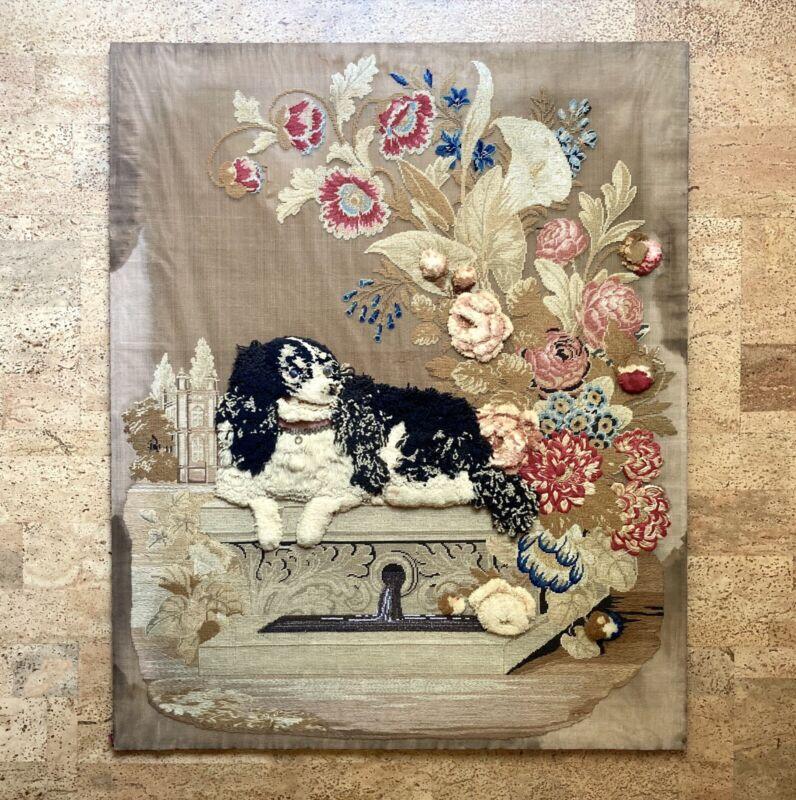 "38"" Antique English Victorian Plush Stumpwork Bead Needlepoint Panel of Spaniel"