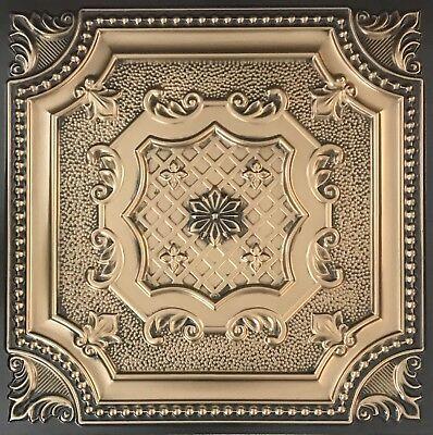# 258 (Lot of 10) Antique Gold PVC Decorative Ceiling Tile Panels Grid / Glue Up (Pvc Ceiling Tiles)