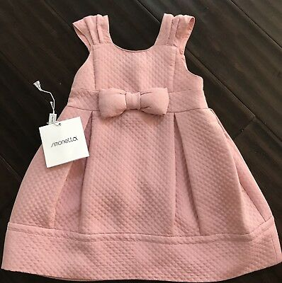 Simonetta - size 4 - made in Italy - wore once - pink bow - Easter dress