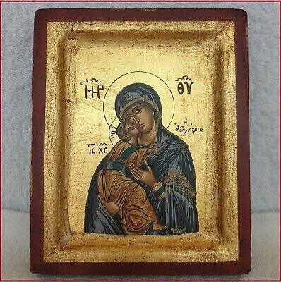 Vintage Byzantine Russian Greek Christian Icon Madonna Jesus Child Gold Painting