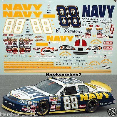 NASCAR DECAL #88 NAVY 2006 BGN MONTE CARLO - GORDON,TRUEX,HUFFMAN, McFARLAND