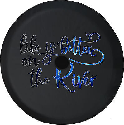 Spare Tire Cover Life is Better River Fishing Camera Hole for Jeep JL