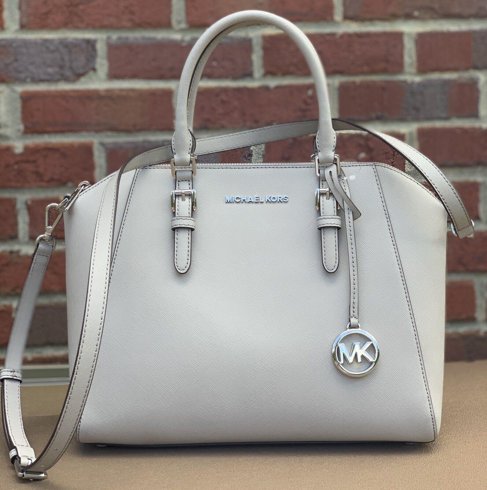 nwt ciara large bag grey saffiano leather