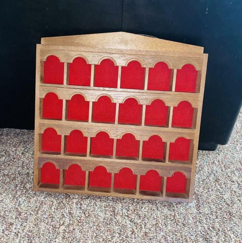 "Vintage Wade Thimble Renaker Wall Display Case Wood/Red Felt 13""x13"""