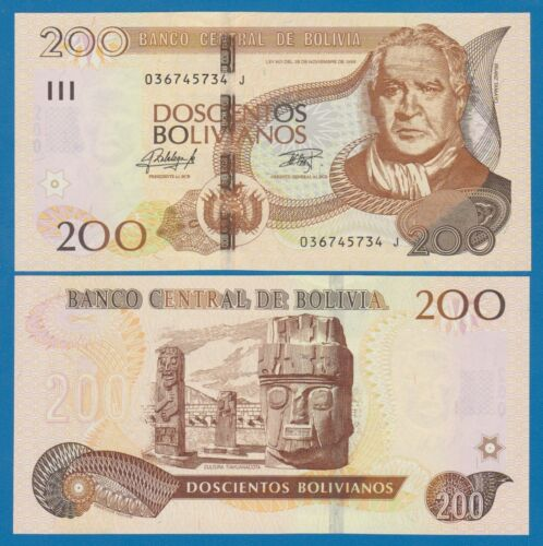 Bolivia 200 Bolivianos P 247 (2015) L. 1986 UNC Series J, Low Shipping! Combine!