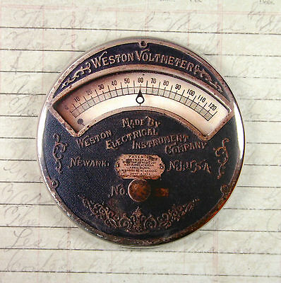 Printed Weston Voltmeter Gauge Magnet #2 - Steampunk Electrical Current - Print Magnets