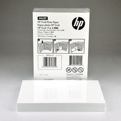 "NEW HP Vivid InkJet Photo Paper 5"" x 7"" Glosy White CG938A 75 Sheets - FREE SHIP"