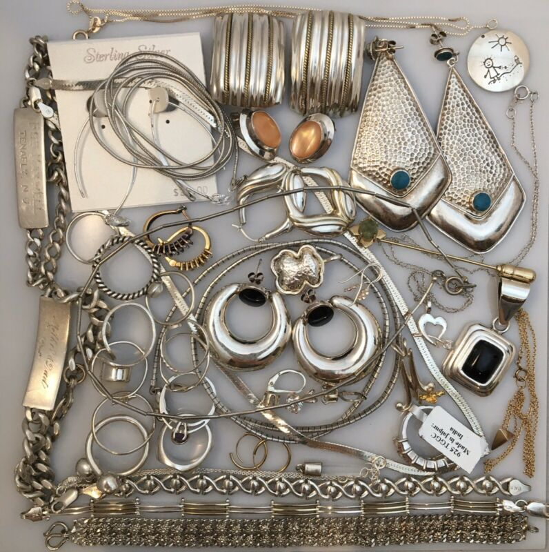 925 Sterling Silver Wearable Scrap Lot With Stones • 8.97 Ounces  • 254 Grams