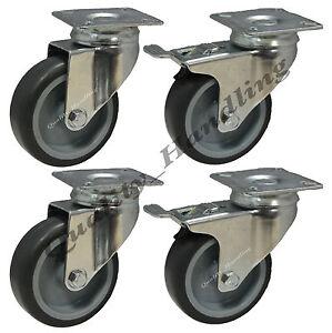 roulettes pivotantes en caoutchouc 75mm avec roulette pour meuble avec frein tr ebay. Black Bedroom Furniture Sets. Home Design Ideas