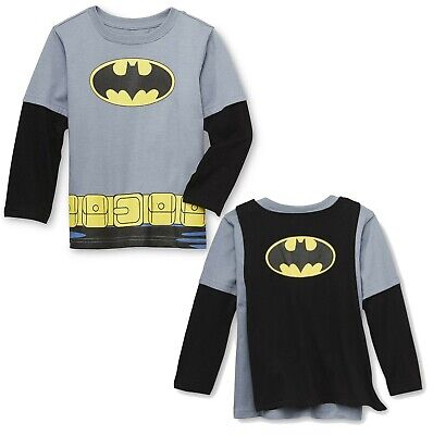 Toddler Boys Batman Costume Tee Shirt with Cape Halloween Child Long Sleeve
