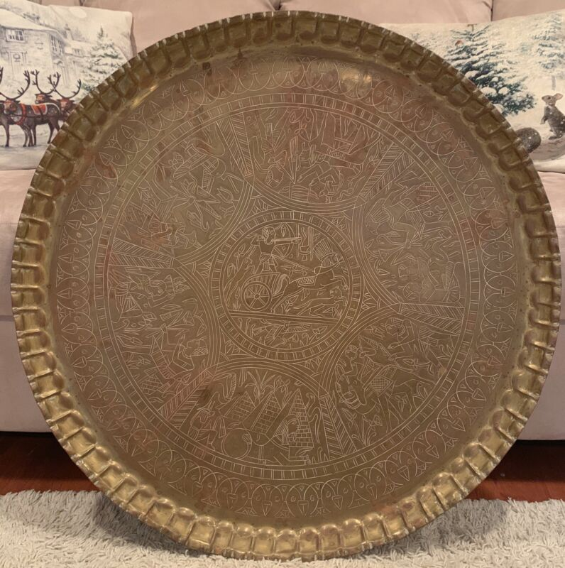 """Antique Large Engraved Hand Made Copper Egypt Wall Decor Tray 28 1/2"""""""