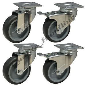 4 - 75mm Castors non marking rubber. 2 swivel & 2 swivel with brake
