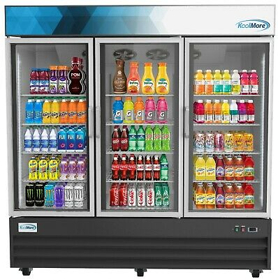 Commercial Glass 3 Door Display Refrigerator Merchandiser Beverage Cooler 78
