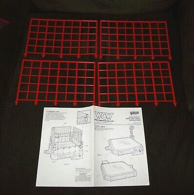 Vintage WCW Galoob Wrestling Ring Cage Parts & Instructions Lot WWE WWF