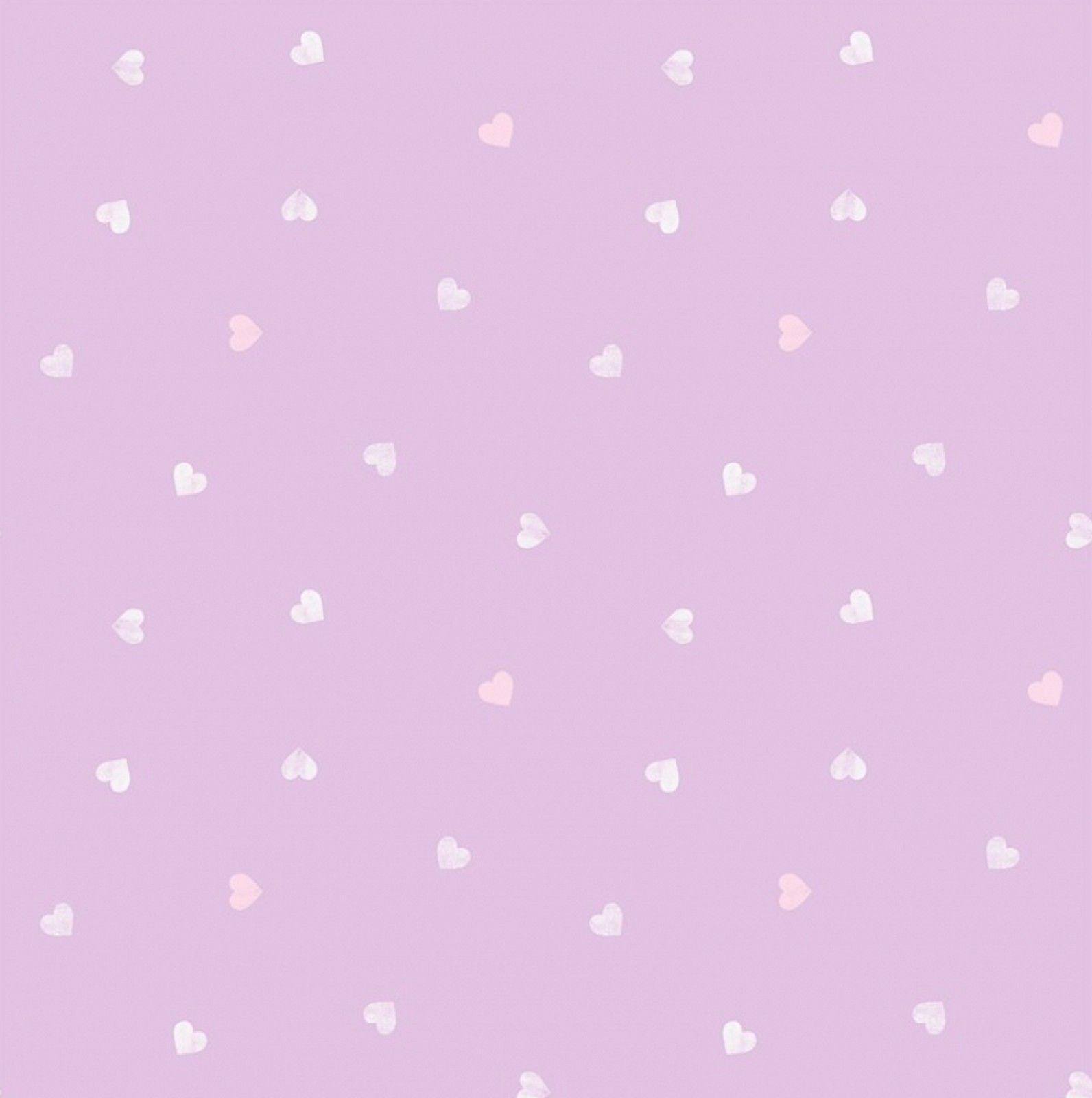 PURPLE LILAC LOVE HEARTS GIRLS CHILDRENS KIDS NURSERY BABY WALLPAPER DL21117